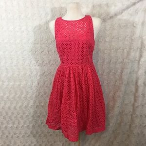 Plenty by Tracy Reese Coral Eyelet Keyhole Dress